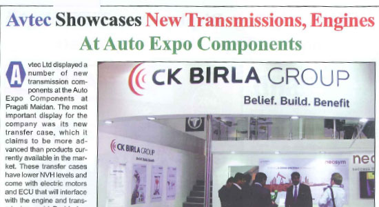 AVTEC showcases New Transmissions, Engines at Auto Expo Components