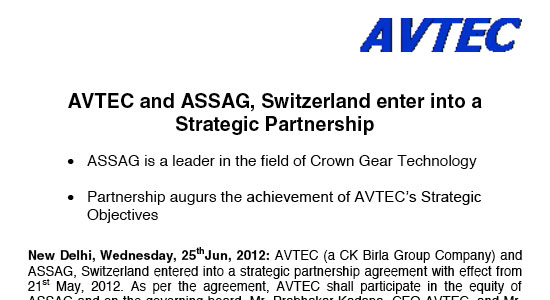 AVTEC Ltd acquires ASSAG, Switzerland Pioneers of Face Gear Technology