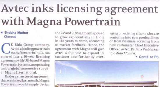 AVTEC inks licensing agreement with Magna Powertrain New Delhi