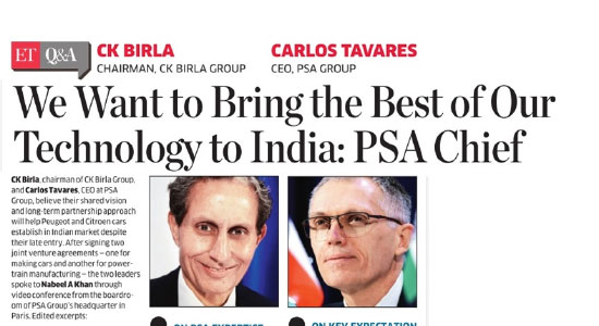 ET interaction with Mr. CK Birla, Chairman of the CK Birla Group and Mr. Carlos Tavares, CEO of the PSA Group